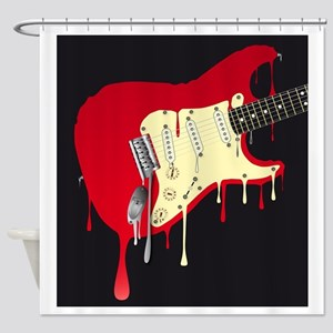 Melting Electric Guitar Shower Curtain