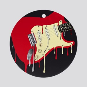 Melting Electric Guitar Round Ornament