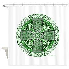 Celtic Cross Green Shower Curtain
