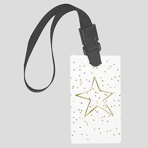 Gold Confetti Star Large Luggage Tag