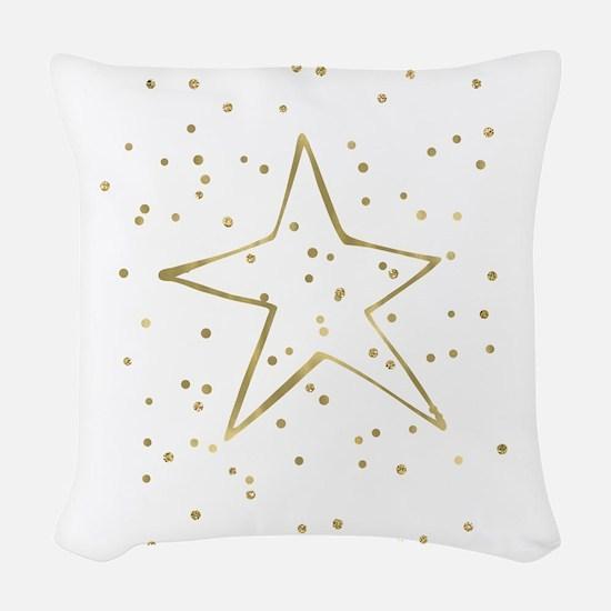 Gold Confetti Star Woven Throw Pillow