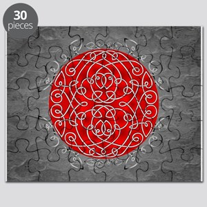 Red Celtic Art Curls Puzzle