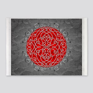Red Celtic Art Curls 5'x7'Area Rug