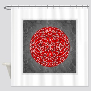 Red Celtic Art Curls Shower Curtain