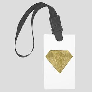 Gold Glittery Diamond Large Luggage Tag