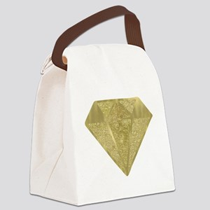 Gold Glittery Diamond Canvas Lunch Bag