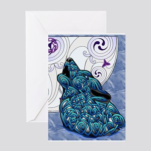 Blue Celtic Art Wolf Greeting Cards
