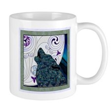 Blue Celtic Art Wolf Mugs