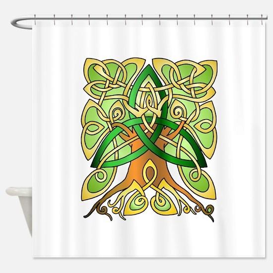 Celtic Art Trinity Tree Green - Filled Shower Curt