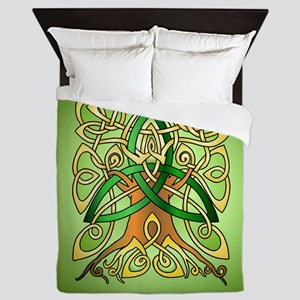Celtic Art Trinity Tree Green Queen Duvet