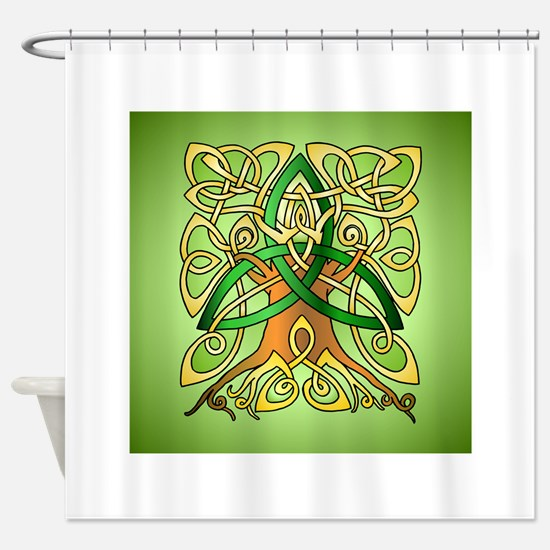 Celtic Art Trinity Tree Green Shower Curtain