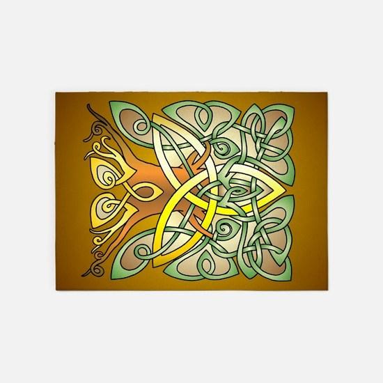 Celtic Art Trinity Tree Brown 5'x7'Area Rug