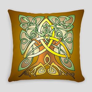 Celtic Art Trinity Tree Brown Everyday Pillow