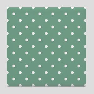 Green, Seafoam: Polka Dots Pattern (S Tile Coaster