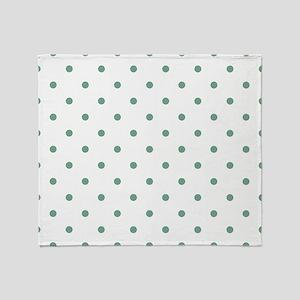 Green, Seafoam: Polka Dots Pattern ( Throw Blanket