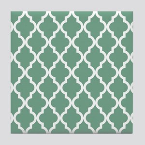 Moroccan Quatrefoil Pattern: Seafoam Tile Coaster