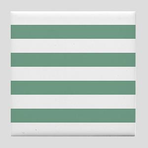 Horizontal Stripes: Seafoam Green Tile Coaster