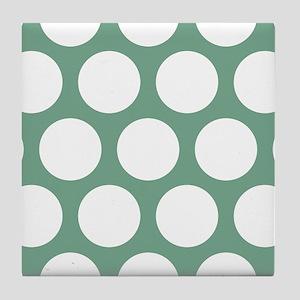 Green, Seafoam: Polka Dots Pattern (L Tile Coaster