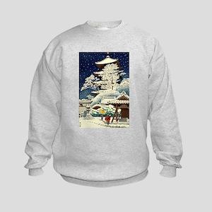 Cool Japanese Oriental Snow Winter Kids Sweatshirt