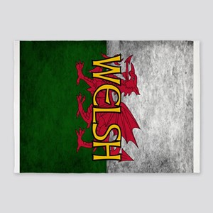 Welsh Red Dragon Flag 5'x7'Area Rug