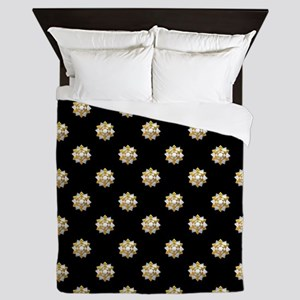 Metallic Silver and Gold Gift Bows on Queen Duvet