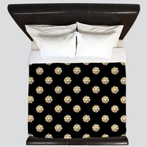 Metallic Silver and Gold Gift Bows on B King Duvet