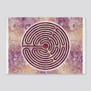 Magenta 10-Circuit Labyrinth 5'x7'Area Rug