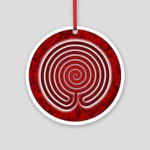 Red Chakravyuha Labyrinth Round Ornament
