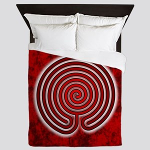 Red Chakravyuha Labyrinth Queen Duvet