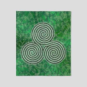 Green Celtic Spiral Triskellion Throw Blanket