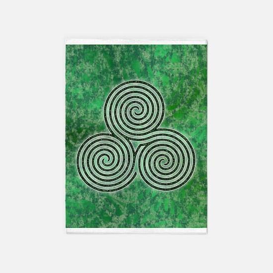 Green Celtic Spiral Triskellion 5'x7'area