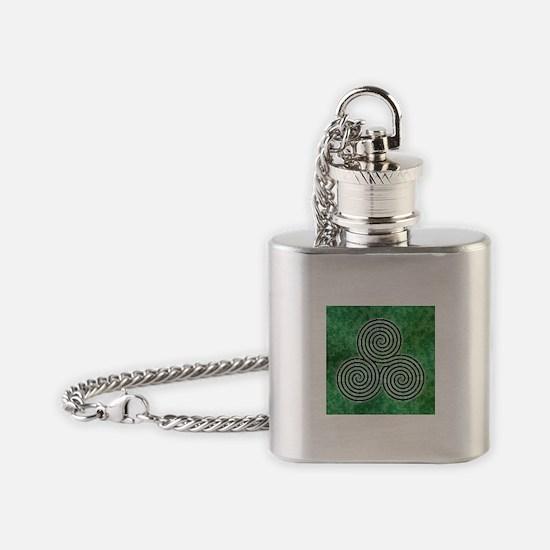 Green Celtic Spiral Triskellion Labyrinth Flask Ne