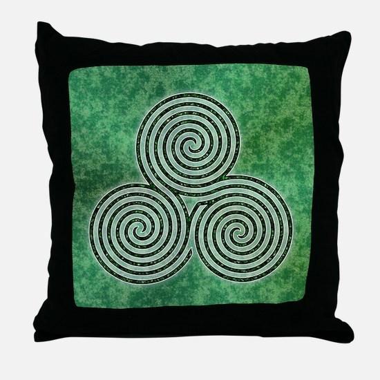 Green Celtic Spiral Triskellion Labyrinth Throw Pi