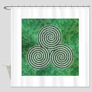 Green Celtic Spiral Triskellion Labyrinth Shower C