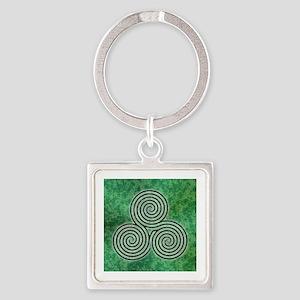 Green Celtic Spiral Triskellion Labyrinth Keychain