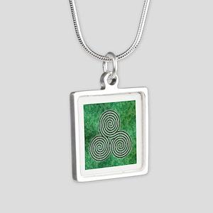 Green Celtic Spiral Triskellion Labyrinth Necklace