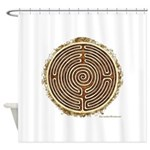 Brown Bayeux Cathedral Labyrinth Shower Curtain