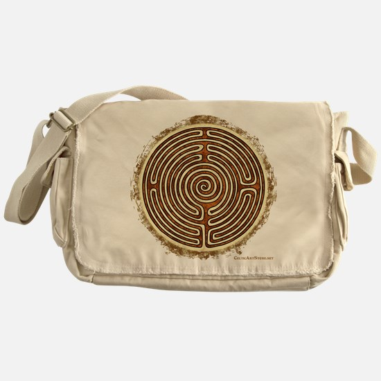 Brown Bayeux Cathedral Labyrinth Messenger Bag