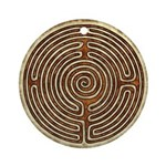 Brown Bayeux Cathedral Labyrinth Round Ornament