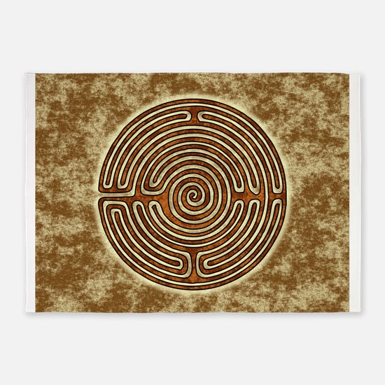 Brown Bayeux Cathedral Labyrinth 5'x7'Area Rug