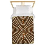 Brown Bayeux Cathedral Labyrinth Twin Duvet