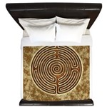 Brown Bayeux Cathedral Labyrinth King Duvet