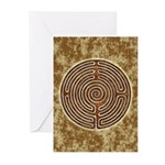 Brown Bayeux Cathedral Labyrinth Greeting Cards