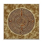 Brown Bayeux Cathedral Labyrinth Tile Coaster