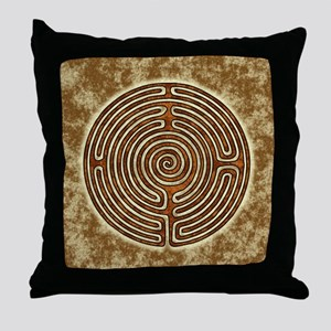 Brown Bayeux Cathedral Labyrinth Throw Pillow