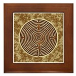 Brown Bayeux Cathedral Labyrinth Framed Tile