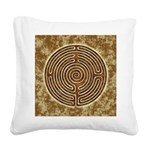 Brown Bayeux Cathedral Labyrinth Square Canvas Pil