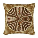 Brown Bayeux Cathedral Labyrinth Woven Throw Pillo