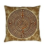Brown Bayeux Cathedral Labyrinth Everyday Pillow