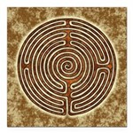 Brown Bayeux Cathedral Labyrinth Square Car Magnet
